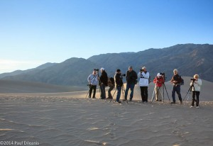 Members of the Villages Camera Club at Mesquite Flat Dunes. Death Valley NP