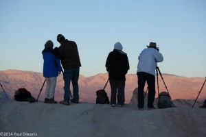 Members of the Villages Camera Club wait for the sunrise. Zabriskie Point. Death Valley NP